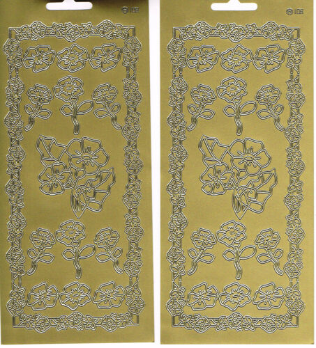 FLOWERS 2 SHEETS GOLD ASSORTED FLOWERS 109 PEEL OFF STICKERS