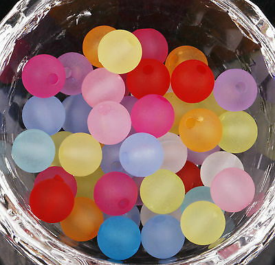 Wholesale 1000 Pcs Round Frosted Acrylic Round Spacer Beads Findings 8mm