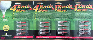 """(4) 4 Four Yards More 1 3/4"""""""" Golf Tees 4 pack RED 16 TOTAL TEES"""