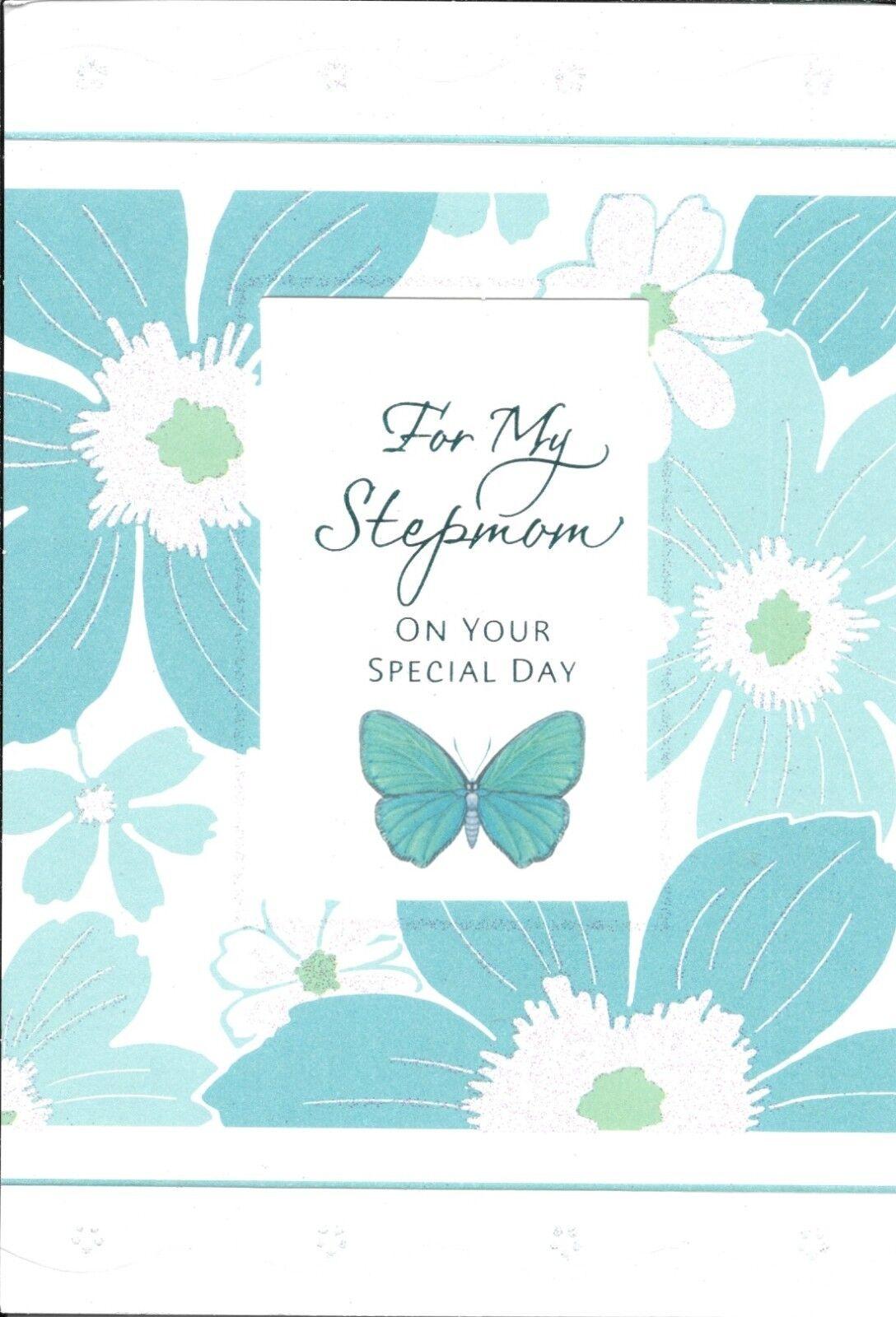 Happy Birthday Stepmom Green Butterfly Flowers Hallmark Greeting