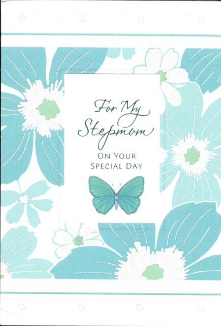 Happy Birthday Stepmom Beautiful Green Butterfly Flowers Hallmark Greeting Card