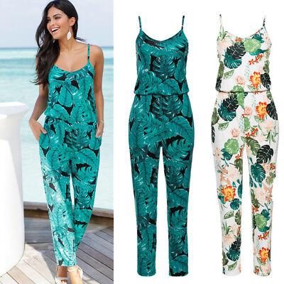 Motiviert Damen Geblümt Weites Bein Hosenanzug Sommer Party Jumpsuit Beach Urlaub Playsuit Professionelles Design
