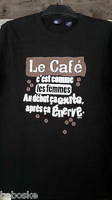 """Speciale Sectie T-shirt Manche,coupe Homme,100% Coton """"les Café C'est."""" Simple Face Duidelijke Textuur"""