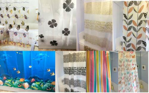 PEVA Shower Bath Showeroom Curtain With Ring Hooks 72x72 Fish Flower Stripe