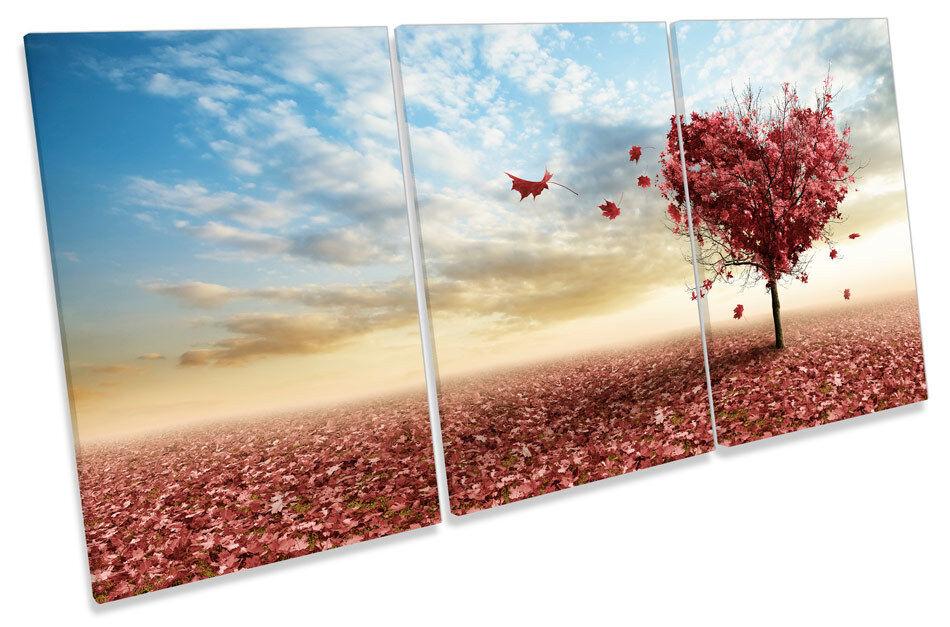 ALBERO di autunno tramonto Amore Amore Amore Cuore TREBLE TELA parete arte foto stampa be0d8a
