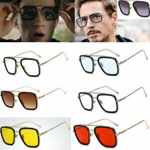 Tony Stark Lunettes de soleil hommes carré métal Avengers Iron man Lunettes de soleil Eyewear Hot