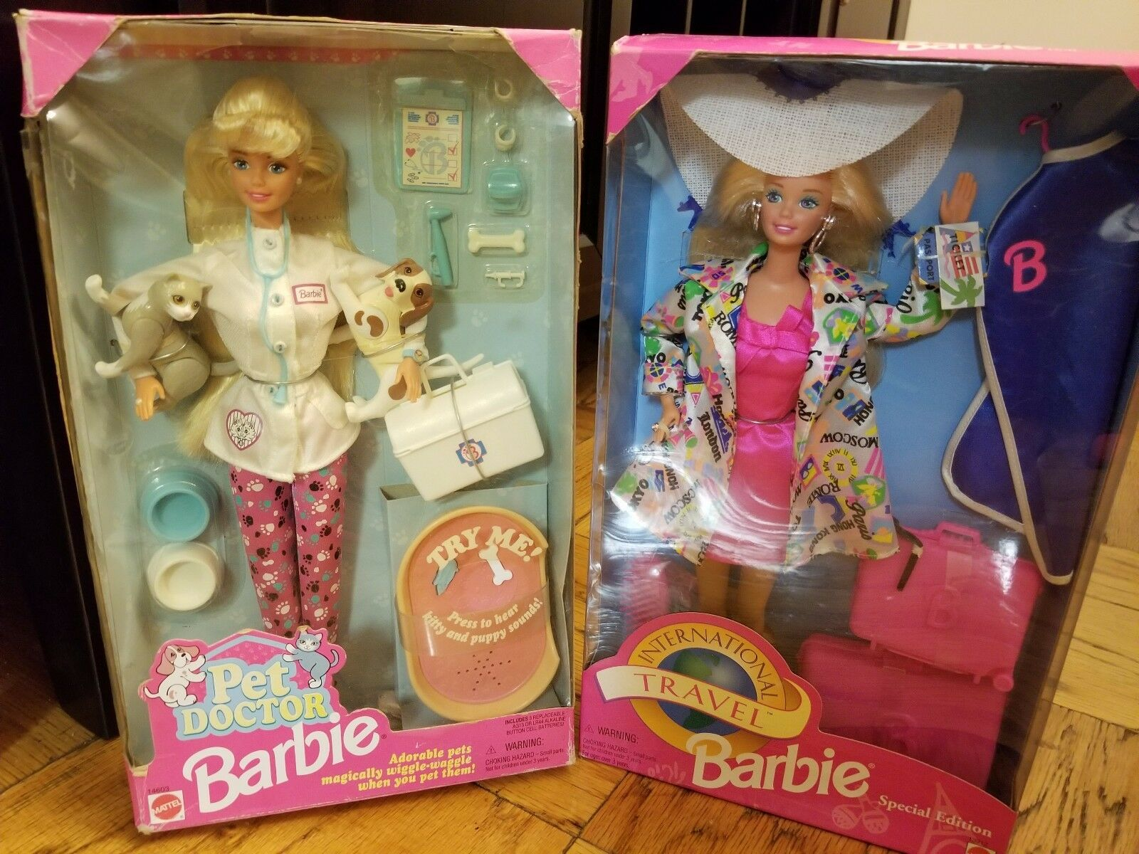 1996 médico de Mascotas Barbie y Barbie 1994 viajes internacionales SP. Ed.  Lote