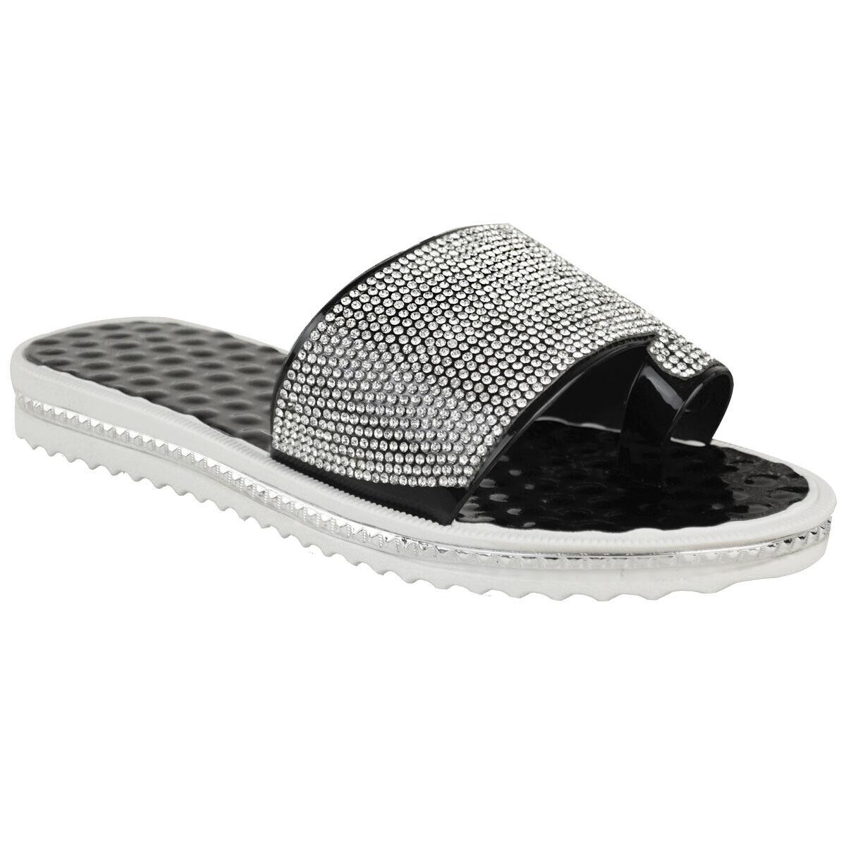 6b3ea3f9acd1 Details about Ladies Women Summer Beach Gem Diamante Sliders FlipFlop Sandals  Jelly Shoes Size