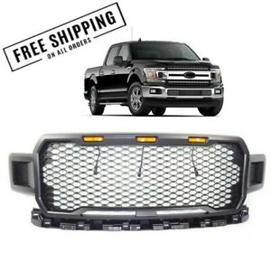 Front-Grille-Mesh-Raptor-Style-For-2018-2019-Ford-F150-w-Ambar-Lights-Matt-Black