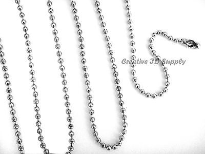 """LOT 50 BALL CHAIN NECKLACE 24"""" NICKEL PLATED 2.4mm BEAD"""