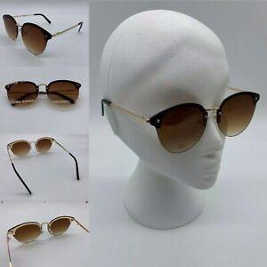 Women's Gold Frame Brown Lens Cat Eye Fashion Sunglasses 100% UV 400
