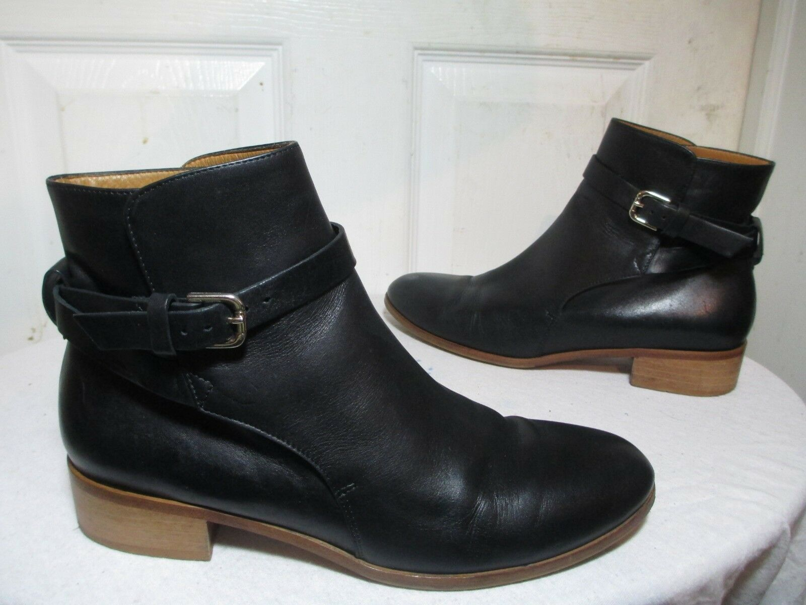 & OTHER STORIES BLACK LEATHER LOW HEEL STRAP ANKLE BOOTS MADE IN ITALY 39 US 9