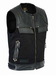 4XL Mens Codura Fabric Vest Genuine Leather Trim Biker Black leather Waistcoat Vest