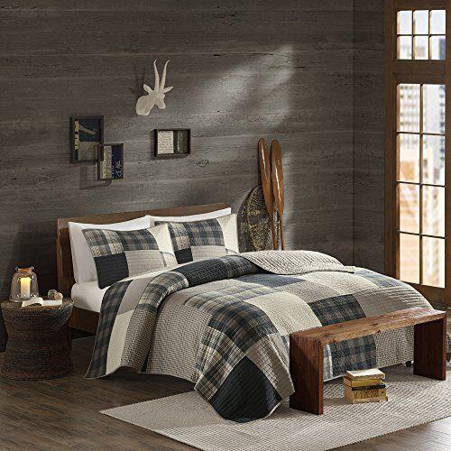King Cal King Dimensione Quilt Bedding Set grigio Tan Plaid – 3 Piece Coverlet