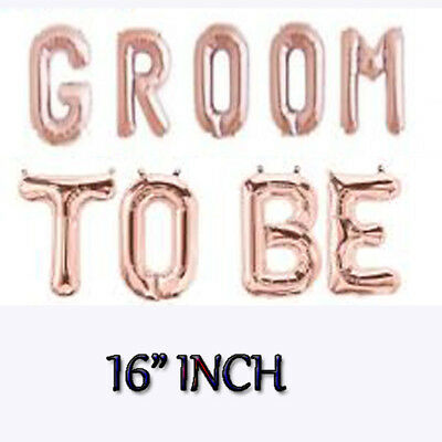 """GROOM TO BE Rose Gold Balloons groom 16/"""" Foil Balloon Wedding Party Banner Decor"""