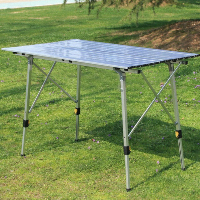 Outdoor Portable Fold Aluminum Roll Up Table Lightweight Camping Picnic with Bag