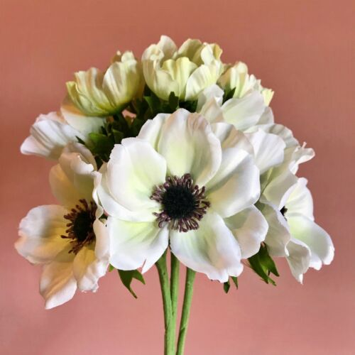 Bunch of 9 Off White /& Green Faux Silk Anemones Artificial Ivory Silk Flowers