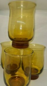 Set-Of-4-Amber-Gold-Libbey-Lowball-Rocks-Tumbler-Glasses-MCM-Barware-Madmen