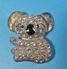 "Rhinestone Koala Bear Brooch Pin Costume Jewelry Green Eyes 1.5"""