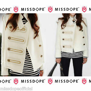 NEW-DOUBLE-BREASTED-WHITE-PARKA-COAT-JACKET-GOLD-SIZE-8-10-WOMENS-LADIES-WINTER