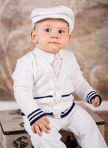 Details Zu Baby Boy White Navy Outfit Smart Wedding Party Suit Christening Baptism Sailor