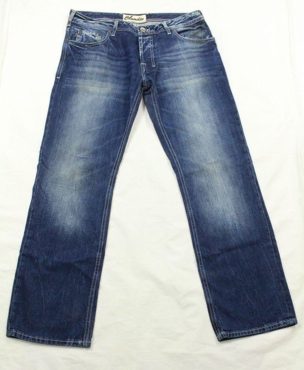 Claudio Milano Herren Jeans Geknöpfter Hosenschlitz Gerades Bein Größe 36X32  | Stilvoll und lustig
