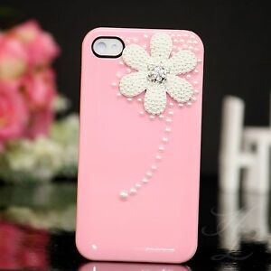 Apple-iPhone-4-4S-Hard-Case-Cover-Huelle-Etui-Perlen-Steine-3D-Blume-Rosa-Weiss