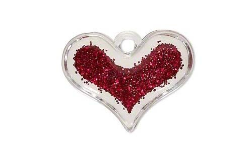 Big 38mm 1 1//2 inch Clear Plastic Acrylic Heart Charm Pendant with Red Glitter