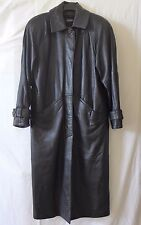 Black Leather Coat Zip Out Thinsulate Lining Women's Size M Long Cayenne