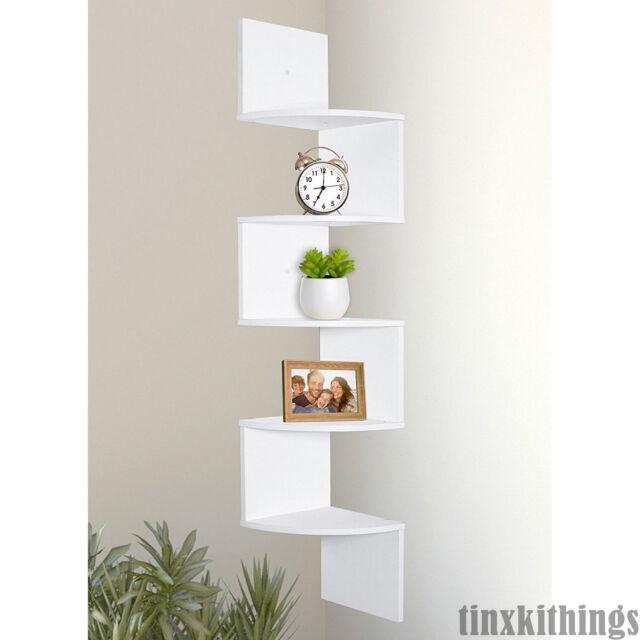 5 Tier White Corner Shelf Wall Mount Display Storage Home Office Bed Room  Dorm