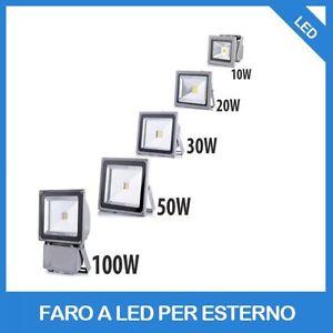 FARO-FARETTO-A-LED-10W-20W-30W-50W-80W-100W-LUCE-CALDA-220V-PER-ESTERNO-IP-65