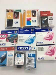 Mixed-Ink-Cartridge-Lot-Of-10-Expired-Epson-Canon-HP-New-Sealed-Printer-Ink-NIP