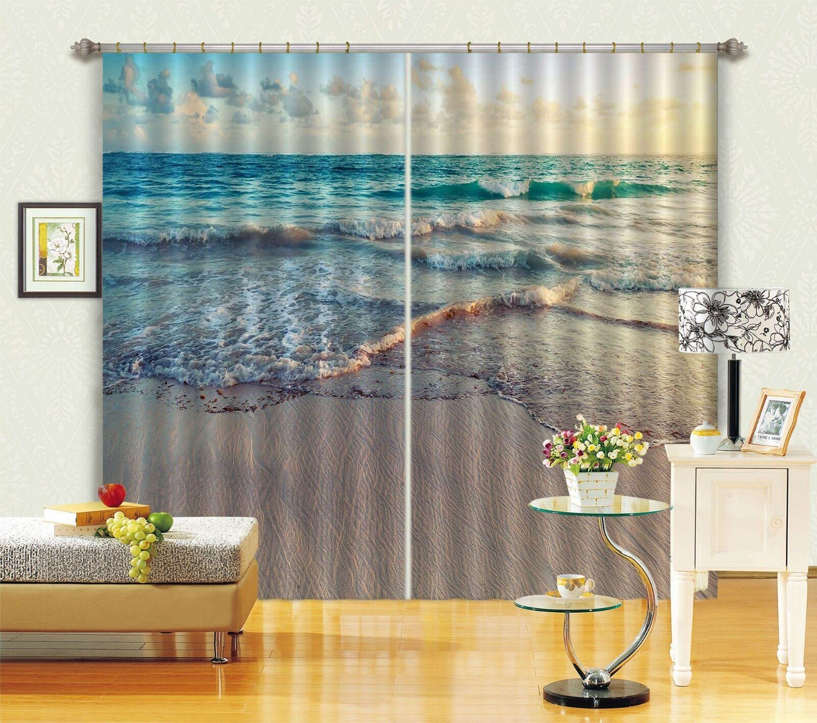 3D Ocean Wave 8 Cortinas de impresión de cortina de foto Blockout Tela Cortinas Ventana CA