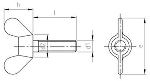 DIN 316 Flügelschrauben deutsche Form Edelstahl A2 verschiedene Abmessungen