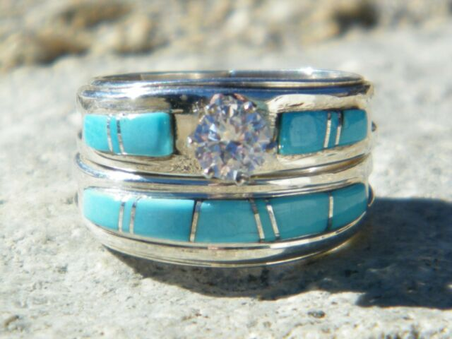 Native American Indian Navajo Wedding Rings Band Turquoise CZ Muskett Sz 9