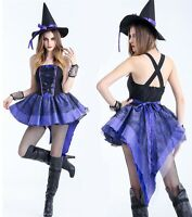 Purple Witch Costume Adult Women Sexy Halloween Fancy Dress With Hat S M L XL 2X