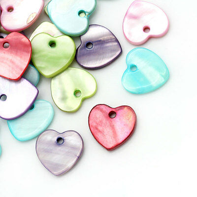 "100PCs Shell Charm HQ Pendents Heart Love Mixed 12mmx12mm(4/8""x4/8"")"