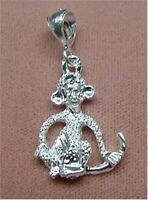 Sterling Silver - Diamond Cut Monkey Pendant (pd174)