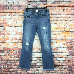 Sneak-Peek-Womens-Size-3-Juniors-Mid-Rise-Distressed-Frayed-Hem-Medium-Wash-Jean