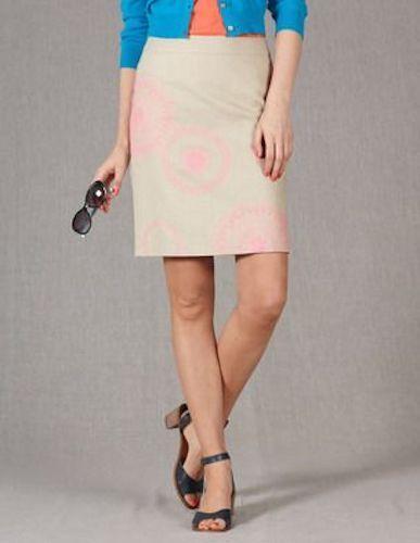 Brand New Boden Embroidered Falling Flower Linen Skirt Size US 2