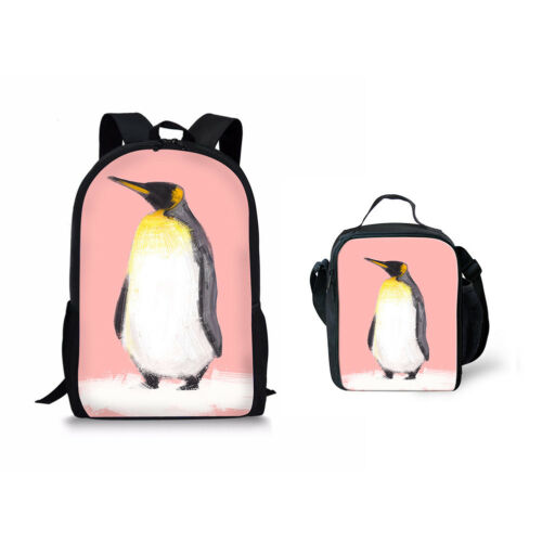 Lovely Penguin Print School Bag set 2pcs Bookbag Backpack With Lunch Bags Totes