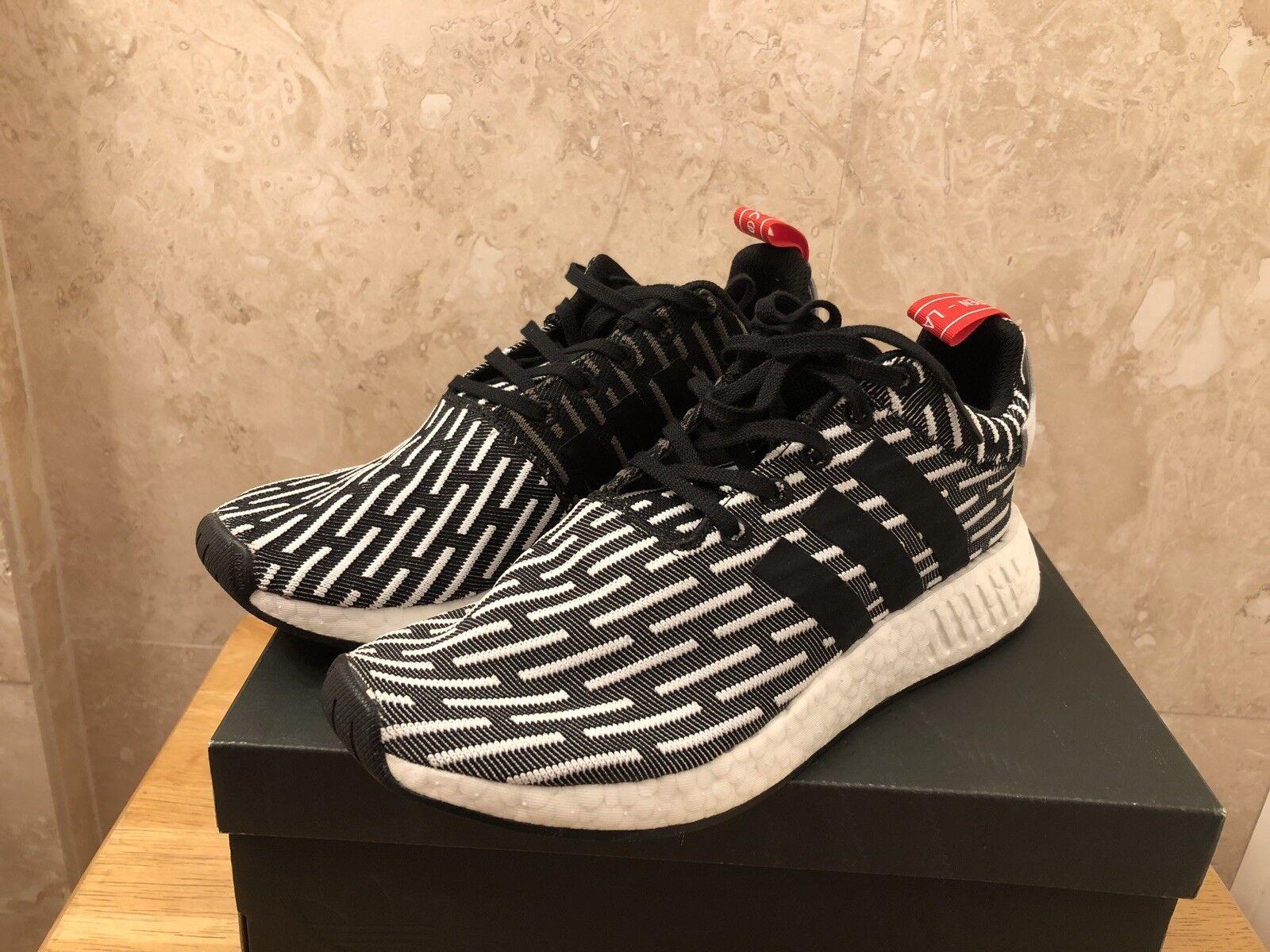 329be8f7f Men s Size 9 Adidas NMD R2 PK Primeknit Primeknit Primeknit Black White  Zebra Stripes - BB2951