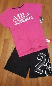 Image is loading Nike-Air-Jordan-Girls-2PC-Shirt-amp-Short- fe4eba591