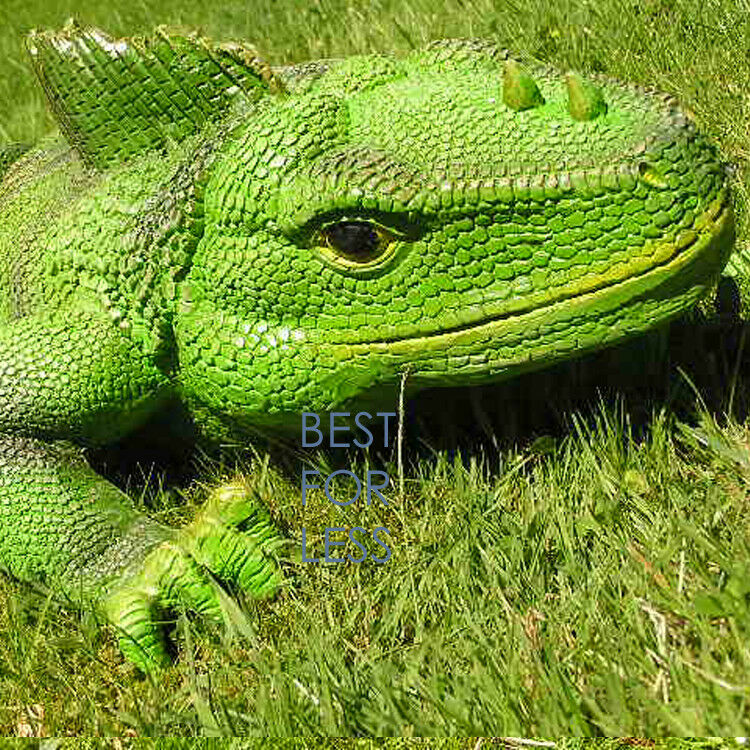 Grüner Leguan Figur Statue Drache Exotische Haustier lebensgroß Deko Reptil neu