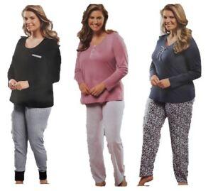 3f8642a8ca Das Bild wird geladen Damen-Pyjama-Schlafanzug-Langarm-schwarz -rosa-lila-Baumwolle-