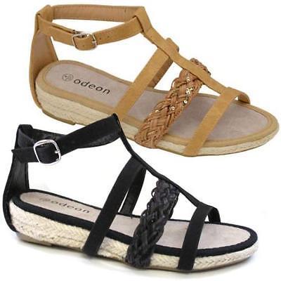 Señoras Sandalias Planas Para Mujer Chicas De Verano Gladiador Fancy Tiras Playa Zapatos Talla
