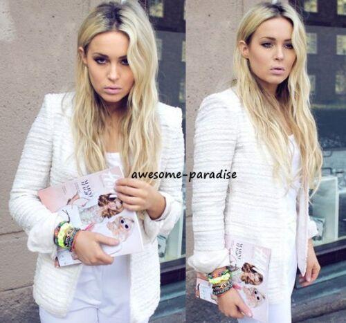 Zara Blazer Boucle Coat Ecru Woman Jacket Fantasy Longline Beige S Long Small rrq1H