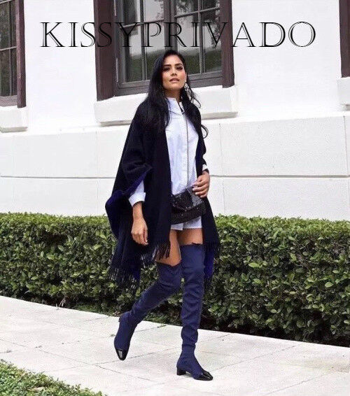 Zara Bleu Marine Avec Noir Verni Contrasté Toe BOTTES CUISSARDES 37 4 BNWT