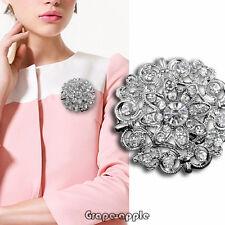 GPE NEw próximos boda nupcial Rhinestone Crystal pin broche Bouquet plata