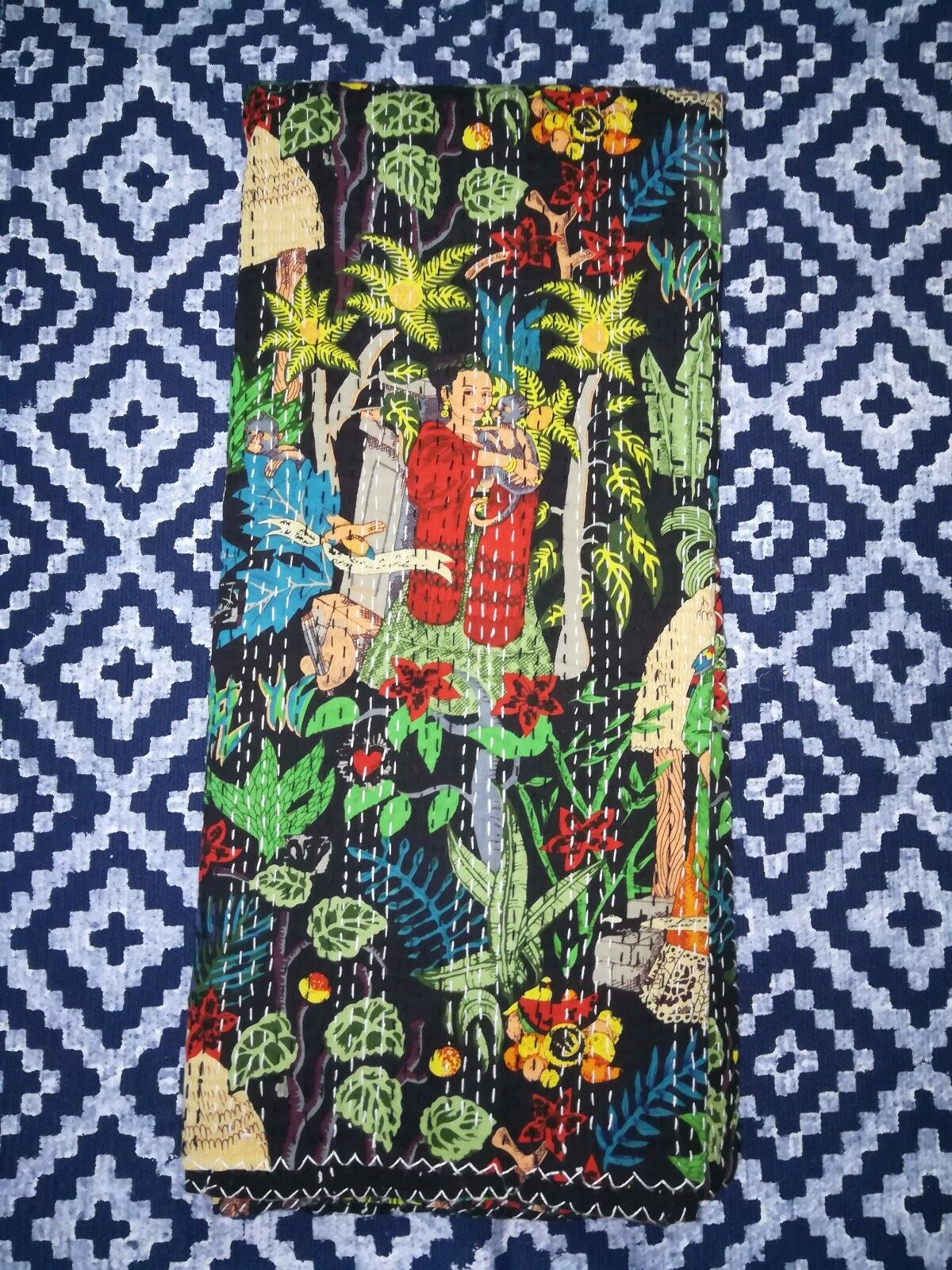 Frida Kahlo Queen Of Mexican Painter Print Kantha Bed Cover Bedspread Quilt